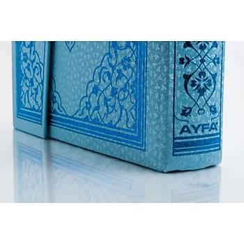 Gül Desenli Renkli Kuranı Kerim, Mavi