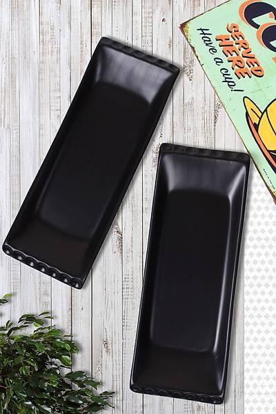 2'li Selen Kayýk Tabak Mat Siyah 33cm