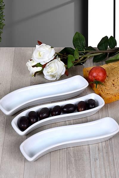 3'lü Zeytinlik Ivory Beyaz 18cm