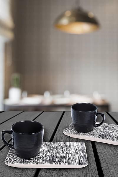 Çizgili Kahve Sunum Seti 2 Kiþilik