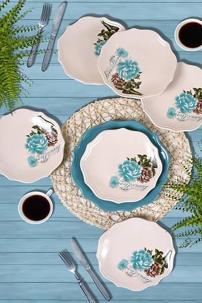 Gül 7 Parça Pasta Servis Sunum Çay Seti