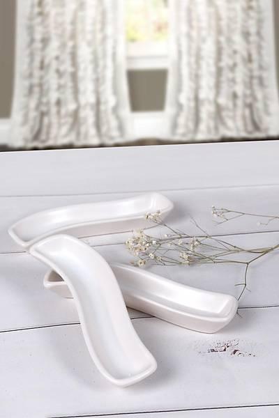3'lü Zeytinlik Ivory Mat Kýrýk Beyaz 18cm