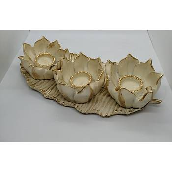 Lotus Çiçek 3'lü Mumluk Tabaklý Set Krem Rengi