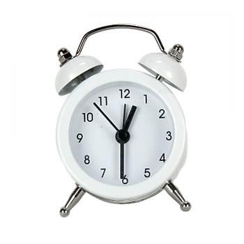 Mini Masa Saati Alarmlý (Beyaz)