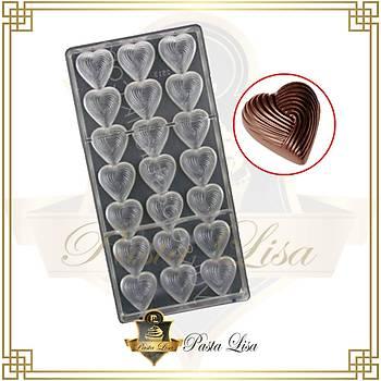 Polikarbon Çikolata Kalýbý - Desenli Kalp