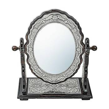 Gümüþ Çiçek Desenli Oval Çift Taraflý Ayna