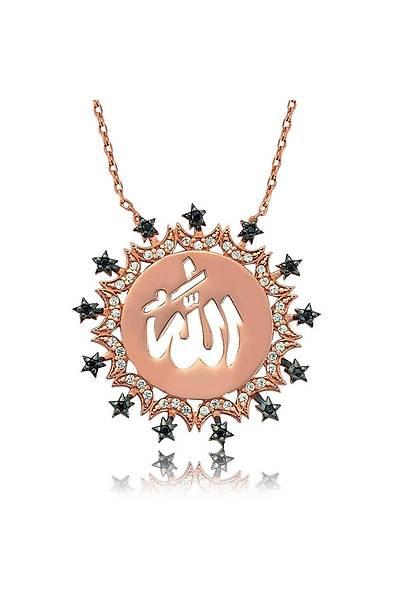 Gümüþ Allah Yazýlý Bayan Kolye