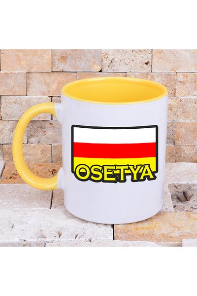 Osetya Bayraklý Renkli Kupa Bardaklar