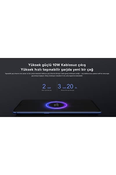 Xiaomi Mi Wireless Power Bank Essential 10000 mAh Qi-Kablosuz Taþýnabilir Þarj Cihazý Beyaz