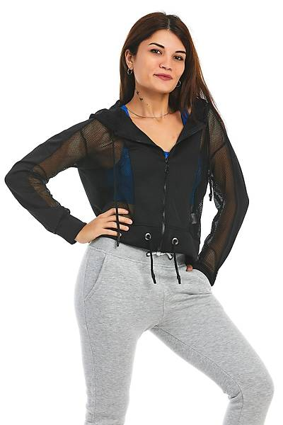 Kadýn Siyah Fermuarlý Kapüþonlu Sweatshirt
