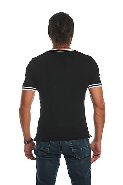 Erkek Triko T-shýrt Siyah Beyaz