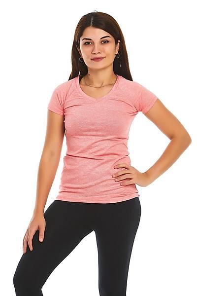 Kadýn Pembe Spor V Yaka T-shirt