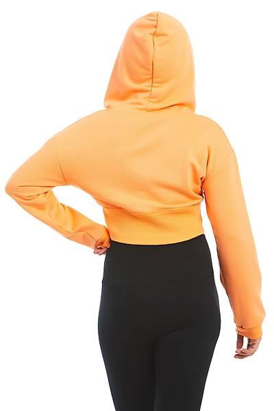Kadýn Turuncu Kýsa Sweatshirt