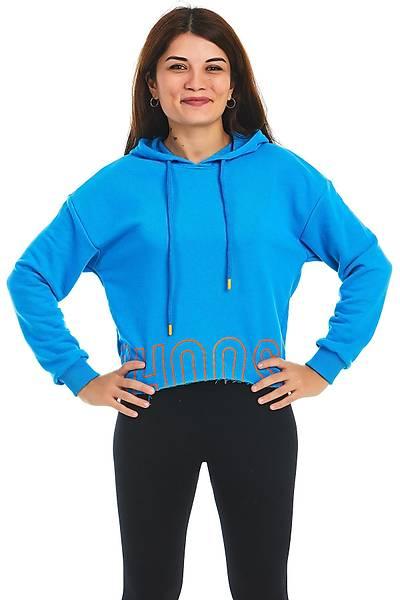 Kadýn Mavi Kapüþonlu Sweatshirt