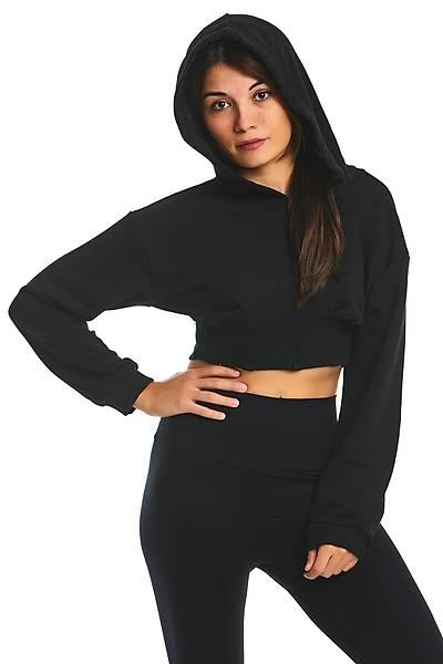 Kadýn Siyah Kýsa Sweatshirt
