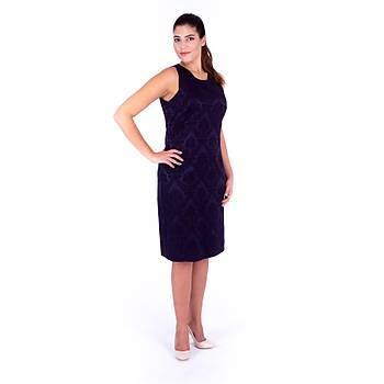 Nidya Moda Asimetrik Kolsuz Lacivert Jakar Krep Abiye Elbise-4138L