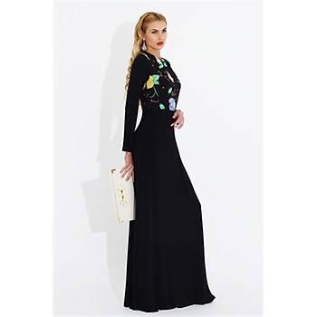 Nidya Moda Büyük Beden Üst Çiçekli Uzun Elbise-4046S