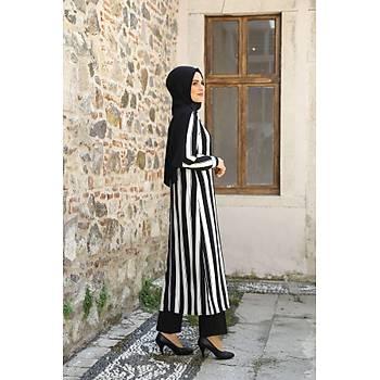 Nidya Moda Tesettür Kadýn Siyah Beyaz Çizgili Uzun Tunik-3001SB