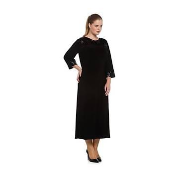 Nidya Moda Büyük Beden Pullu Payet Konbin Siyah Sandy Abiye Elbise-4056S