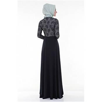 Nidya Moda Tesettür Dantel Kombin Lacivert Elbise-4045L