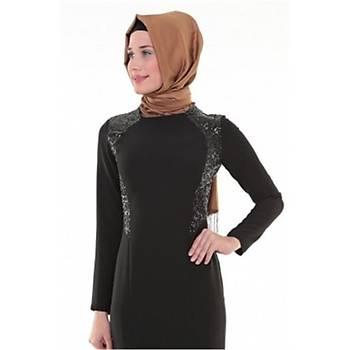 Nidya Moda Tesettür Pullu Payetli Balýk Elbise-4048PS