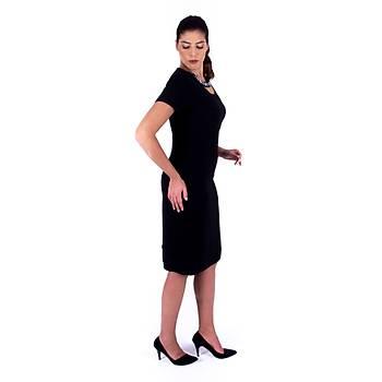 Nidya Moda Lazer Yaka Taþ Ýþli Siyah Krep Abiye Elbise-4106S