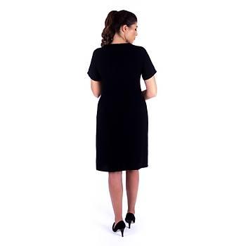 Nidya Moda Yaka Omuz Taþ Nakýþlý Siyah Krep Abiye Elbise-4104S