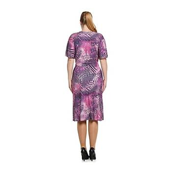 Nidya Moda Büyük Beden Kuþaklý V Yaka Elbise-4071SF