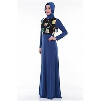 Nidya Moda Tesettür Pilili Bahar Kombin Saks Elbise-4046SX