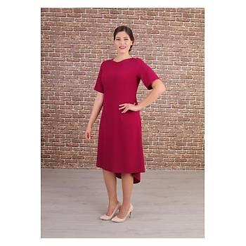 Nidya Moda Büyük Beden Kadýn Fuþya Ön Kýsa Arka Uzun Krep Elbise-4151F