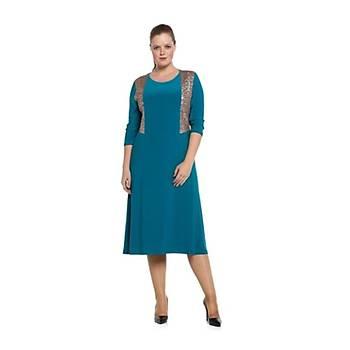 Nidya Moda Büyük Beden Pullu Payetli Elbise-4060T