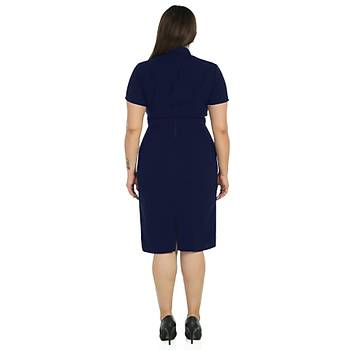 Nidya Moda Büyük Beden Kadýn Lacivert Kruvaze Yaka Abiye Elbise-4098L