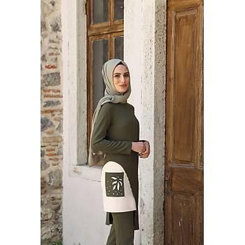 Nidya Moda Tesettür Haki Lazer Cepli Pantolon Tunik Takým-3002H