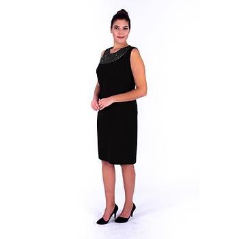 Nidya Moda Büyük Beden Tül Ýþli  Konbin Krep Elbise-4011AS