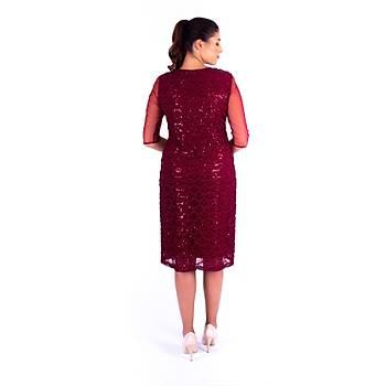 Nidya Moda Tül Kol Pullu Dantel Bordo Abiye Elbise-4112B