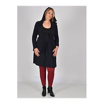 Nidya Moda Büyük Beden Siyah Kapiþonlu Tunik-1016SS