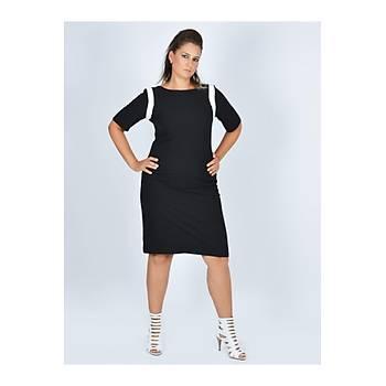 Nidya Moda Büyük Beden Ay Kombin Siyah Elbise-4031S