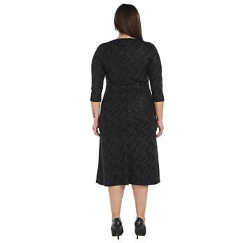 Nidya Moda Büyük Beden Kadýn Siyah Sim Dalga Desen Elbise-4087S