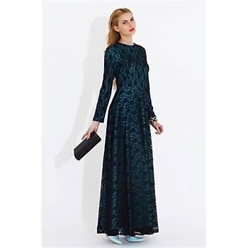 Nidya Moda Büyük Beden Uzun Dantelli Elbise-4051T
