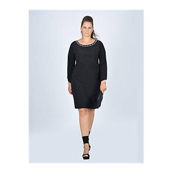 Nidya Moda Büyük Beden Yarasa Kol Siyah Elbise-4001S