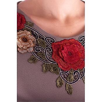 Nidya Moda Gelincik Aplik Yaka Vizon Örme Abiye Elbise-4130V