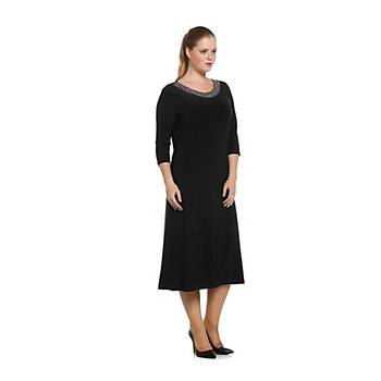 Nidya Moda Büyük Beden Kadýn Siyah Taþlý Yaka Abiye Elbise-4052S
