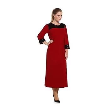 Nidya Moda Büyük Beden Pullu Payet Konbin Kýrmýzý Sandy Abiye Elbise-4056K