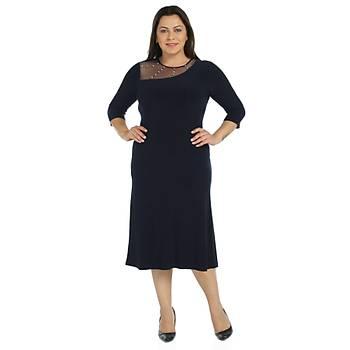 Nidya Moda Büyük Beden Taþlý Tül Kombin Sandy Elbise-4089L