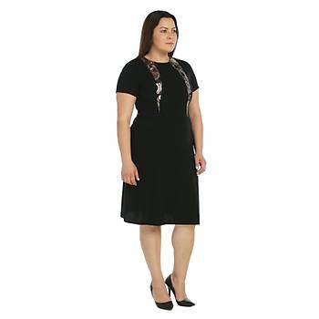 Nidya Moda Büyük Beden Abiye Krep Elbise-4090S