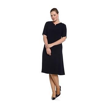 Nidya Moda Büyük Beden Yaka Kol Ayraç Elbise-4067L