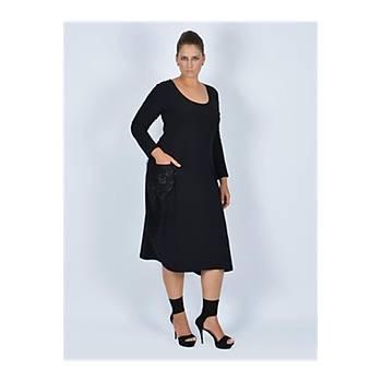 Nidya Moda Büyük Beden Dantel Cepli Elbise-4021S