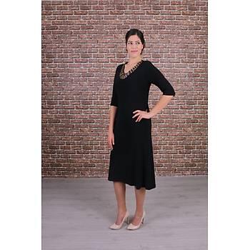 Nidya Moda Büyük Beden Renkli Taþlý Yaka Siyah Abiye Elbise-4148S