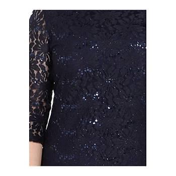 Nidya Moda Büyük Beden Payet Gelincik Dantel Elbise-4077L