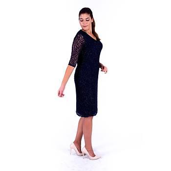 Nidya Moda V Yaka Simli Lacivert Dantel Abiye Elbise-4009YL